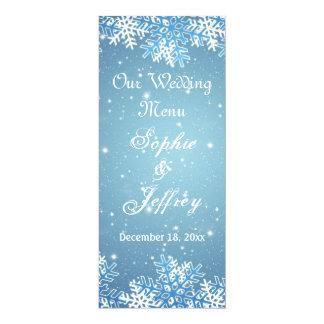 "Snowflakes on blue Christmas Wedding Menu 4"" X 9.25"" Invitation Card"