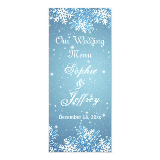 Snowflakes on blue Christmas Wedding Menu Card