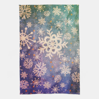 Snowflakes on Blue Denim Tie-dye Kitchen Kitchen Towel