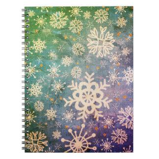 Snowflakes on Blue Denim Tie-dye Spiral Note Book