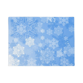 SNOWFLAKES ON BLUE DOORMAT