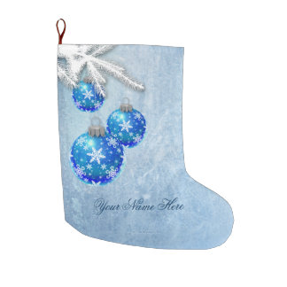 Snowflakes on Blue Ornaments Frost Large Christmas Stocking