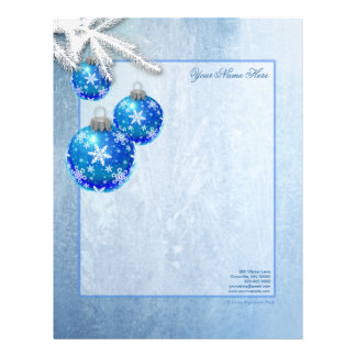 Snowflakes on Blue Ornaments Frost Letterhead