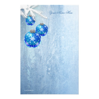 Snowflakes on Blue Ornaments Frost Stationery Design