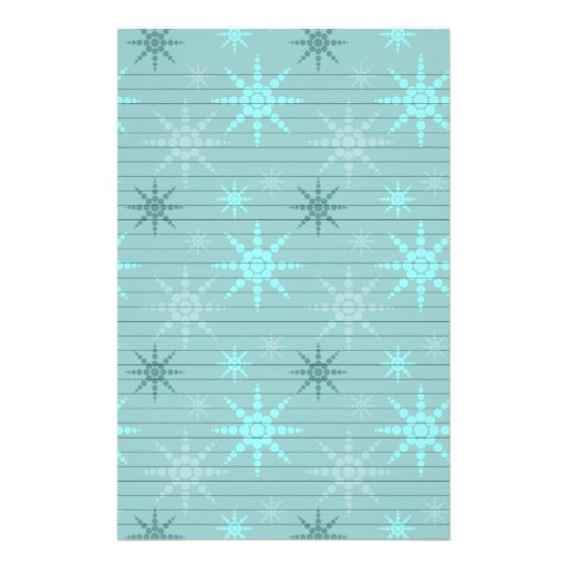 Snowflakes on Blue Stationery Paper