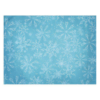 Snowflakes on Blue Tablecloth