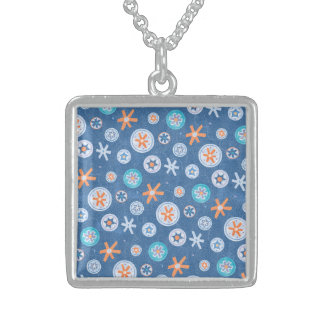 Snowflakes on Blue Winter Christmas Holiday Snow Necklaces
