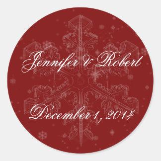 Snowflakes on Cranberry Envelope Seal Sticker