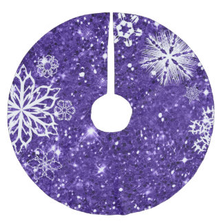 Snowflakes on Glitter Purple ID454 Brushed Polyester Tree Skirt