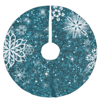 Snowflakes on Glitter Turquoise ID454 Brushed Polyester Tree Skirt