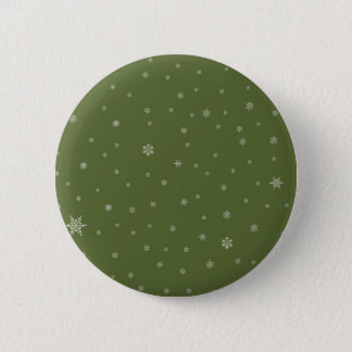 Snowflakes on Green 2 Inch Round Button