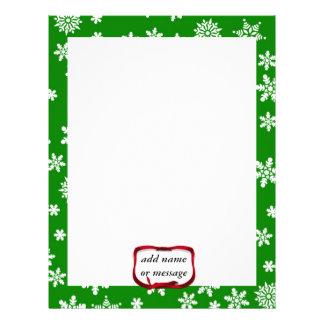 Snowflakes On Green Background Letterhead