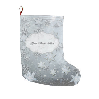 Snowflakes on Ice Large Christmas Stocking
