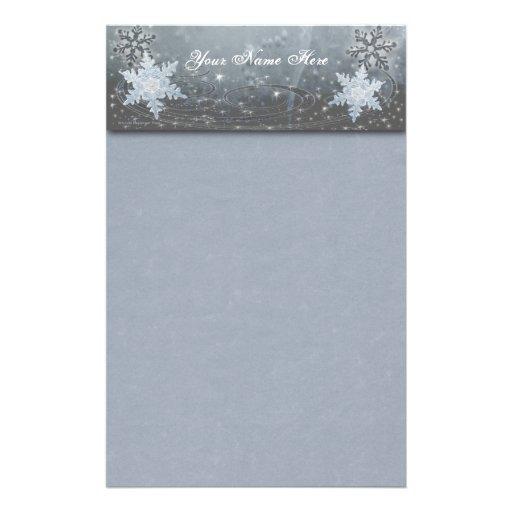 Snowflakes on Ice Custom Stationery