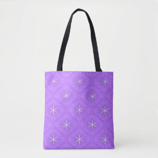 Snowflakes on lavender... tote bag