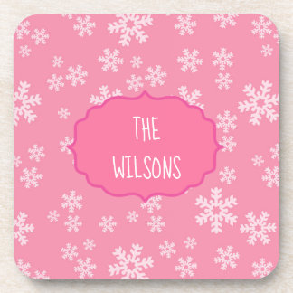 Snowflakes on pink background coaster