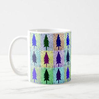 Snowflakes on Pop Art Trees Coffee Mug