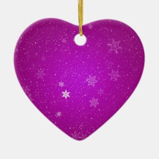 Snowflakes on Purple Sparkles Ceramic Heart Ornament