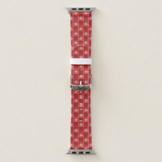 Snowflakes on red apple watch band