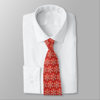 Snowflakes on Red Background Tie