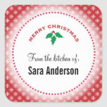 Snowflakes on Red, Christmas Baking Square Stickers