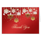 Snowflakes on red Christmas Wedding Thank You Note Card