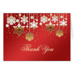 Snowflakes on red Christmas Wedding Thank You Note Greeting Cards