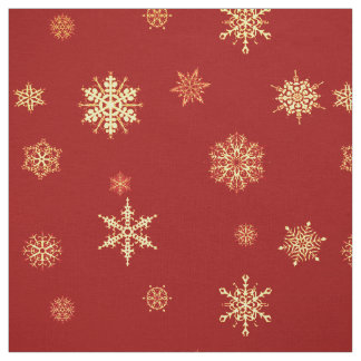 Snowflakes on red fabric