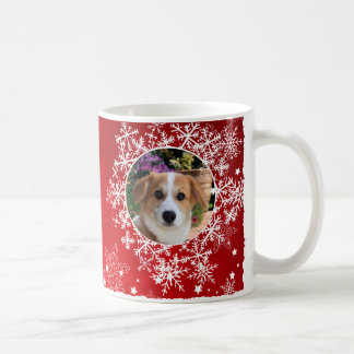 Snowflakes on Red Holiday Coffee Mug