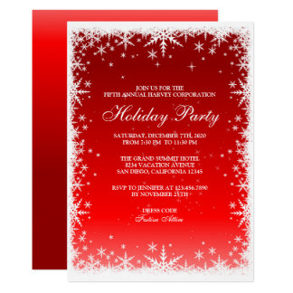 Snowflakes on Red Holiday Party Invitation