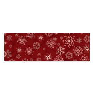 Snowflakes on red mini business card
