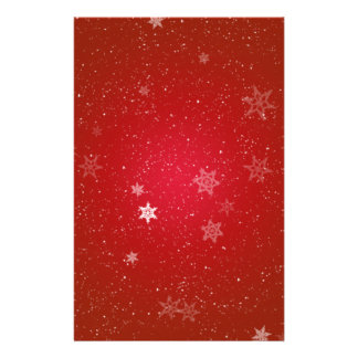 Snowflakes on Red Sparkles Background Stationery