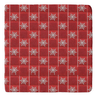 Snowflakes On Red Trivet