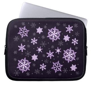 snowflakes on the black laptop sleeve