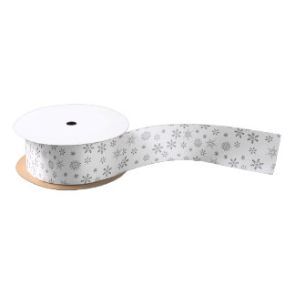 Snowflakes on White  Background Satin Ribbon