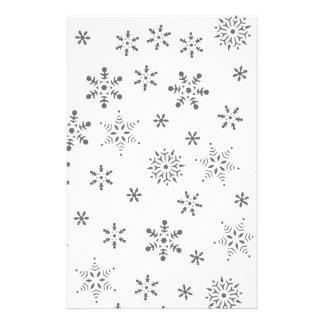 Snowflakes on White  Background Stationery Design