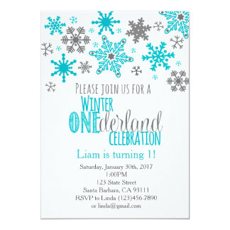 Snowflakes ONEderland Birthday Invitation-Aqua Card