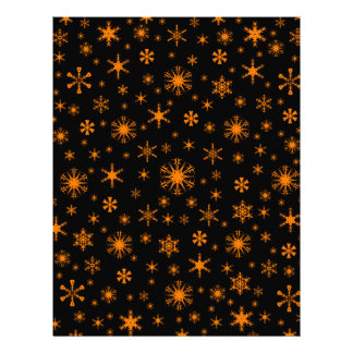 Snowflakes – Orange on Black Customized Letterhead