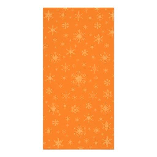 Snowflakes - Orange on Dark Orange Photo Card