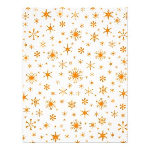 Snowflakes – Orange on White Personalized Letterhead