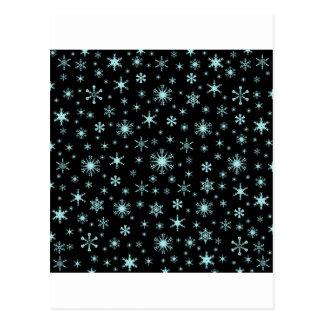 Snowflakes – Pale Blue on Black Post Card