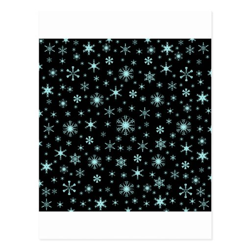 Snowflakes – Pale Blue on Black Post Card