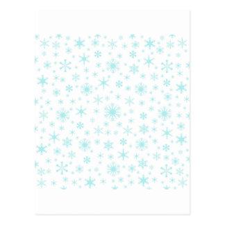 Snowflakes – Pale Blue on White Postcard