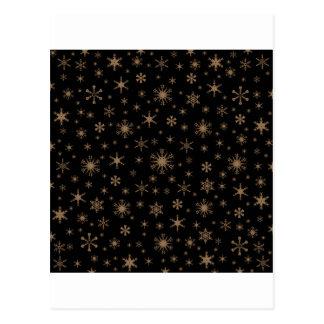 Snowflakes - Pale Brown on Black Postcard