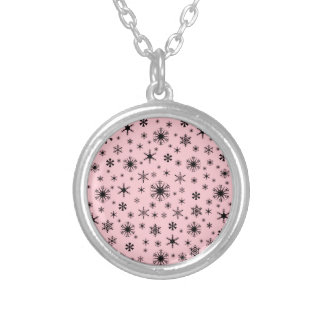 Snowflakes – Pale Pink on Black Jewelry