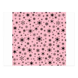 Snowflakes – Pale Pink on Black Postcard