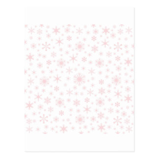 Snowflakes – Pale Pink on White Post Card