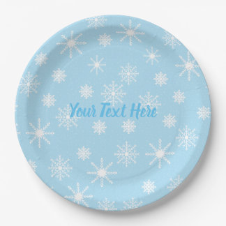 Snowflakes Party Paper Plates with Custom Text