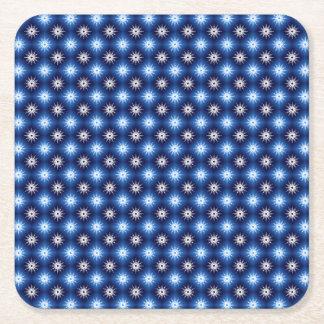Snowflakes Pattern Blue Square Paper Coaster