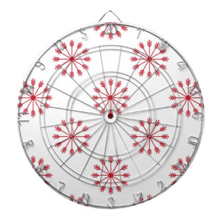 Snowflakes pattern dartboard with darts